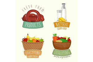 Set of logos design with farm organic products. Vector illustration.
