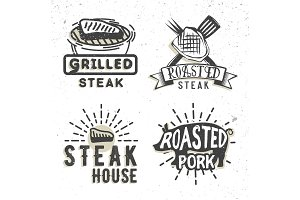 Set of logos design with grilled meat. Vector illustration.
