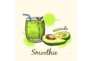 Sketch of avocado smoothie in glass. Vector illustration.