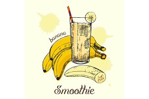Sketch of banana smoothie in glass. Graphic design. Vector illustration.