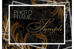 Dark gold background photoframe