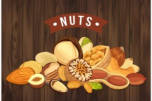 Nut pile as banner with kernel and shell, sign