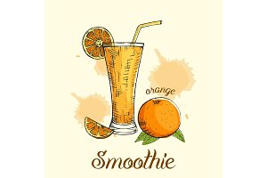 Orange smoothie in glass with straw. Vector illustration, graphic design.