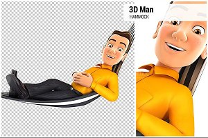 3D Man Relaxing in a Hammock