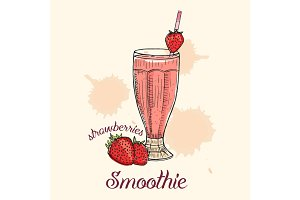 Strawberry smoothie in glass with straw. Vector illustration, graphic design.