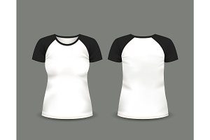 Black raglan t-shirt. Vector template.