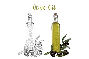 Olive oil branch and glassware bottle with cork
