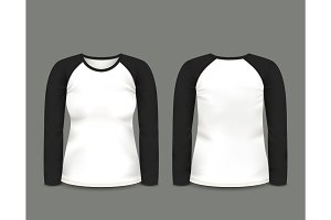 Black raglan sweatshirt long sleeve. Vector