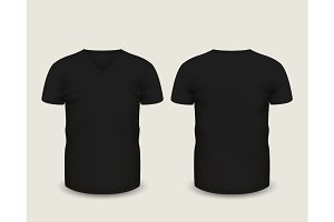 Black V-neck shirts. Vector template.