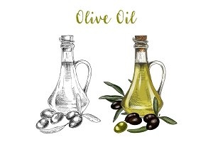 Sketch of bottle with olive oil and branch