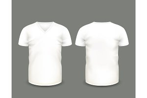 White V-neck shirts. Vector template.