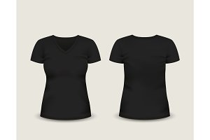 Black V-neck t-shirt. Vector template.