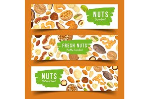 Cards with nuts food, pecan and nutmeg, hazel