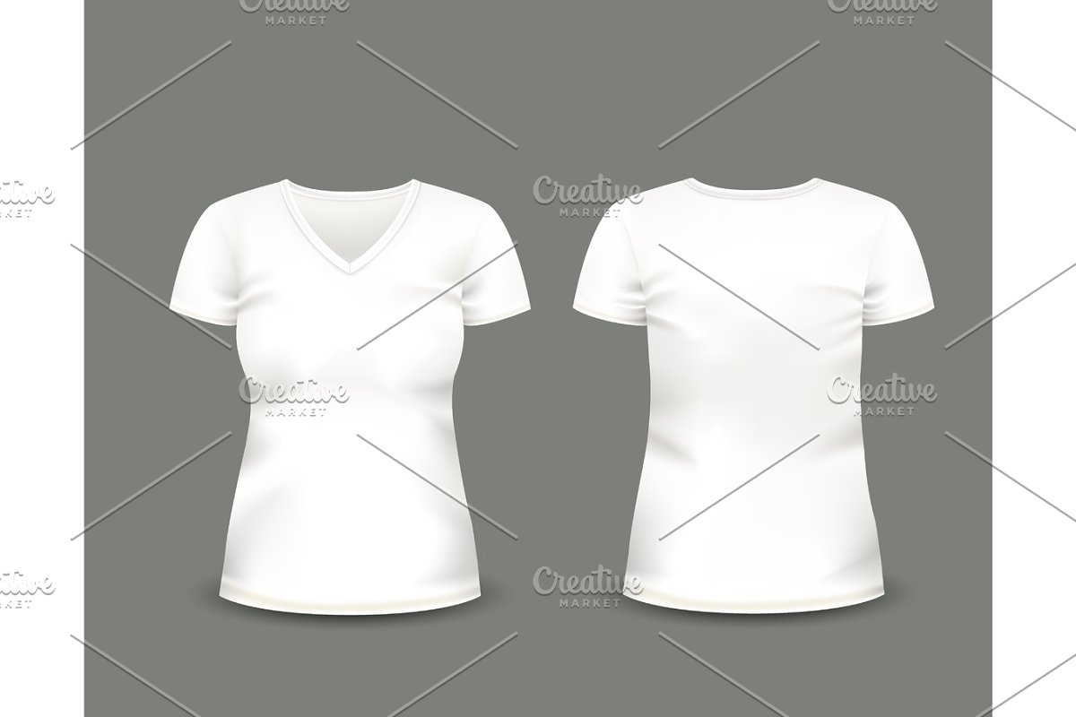 5a8bfdcf0 White V-neck t-shirt. Vector template. ~ Illustrations ~ Creative Market