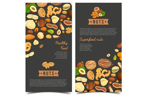 Nut food for shop poster or market banner