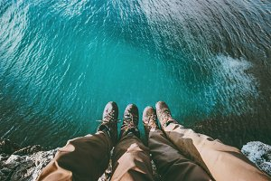 Couple feet above sea on cliff