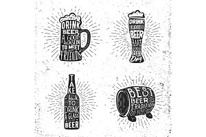 Creative beer set with glass, mug, bottle sunburst and lettering.