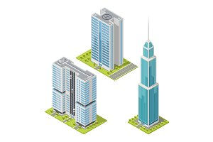 Set of realistic office buildings, isometric skyscrapers. Vector illustration.