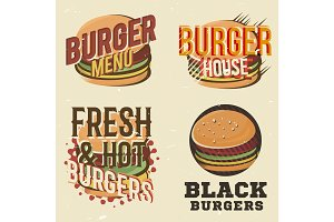 Creative set of logos design with burger. Vector illustration.