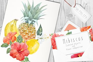 Watercolor Tropical Set PSD,EPS,PNG