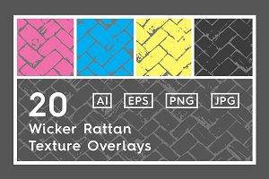 20 Wicker Rattan Texture Overlays