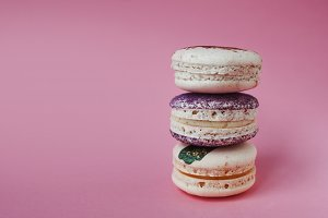 Macarons on pink background, Beautiful dessert, Free space left