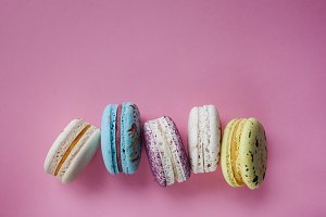 Lot of beautiful macarons