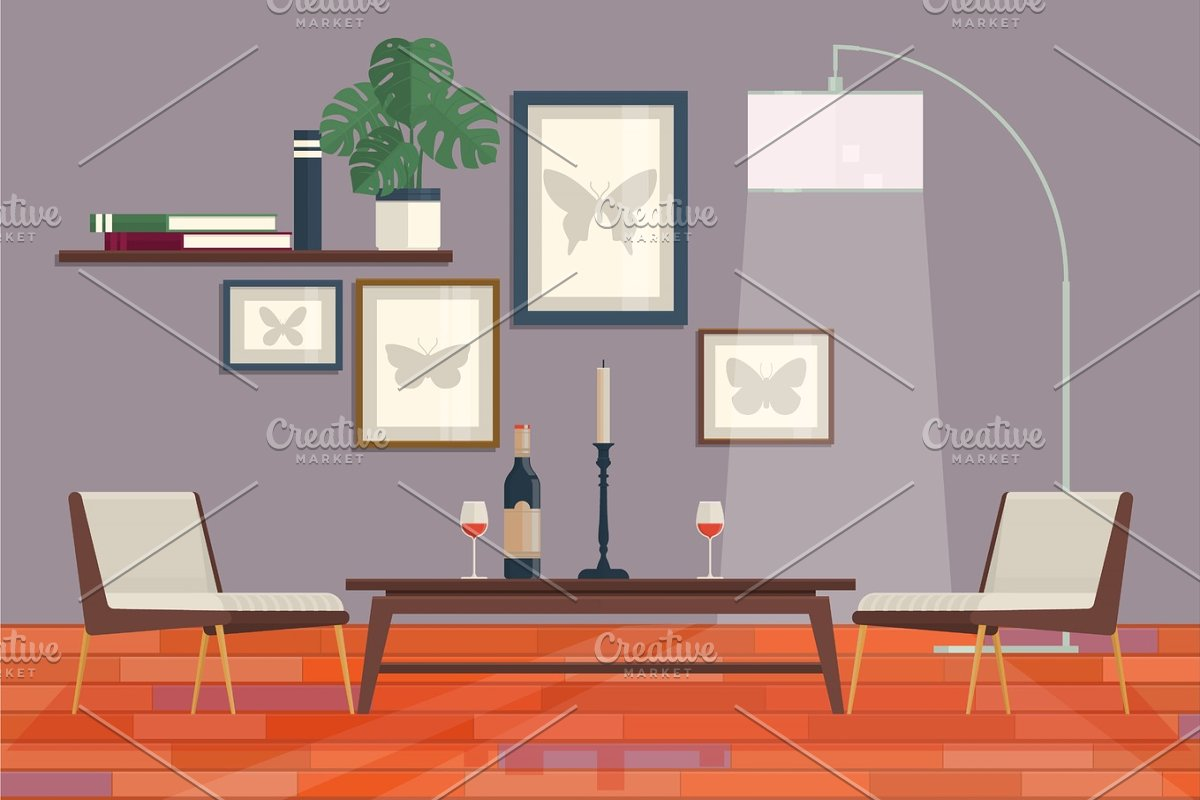 Cool graphic living room interior design with furniture bookcase, table,  lamps. Home Modern Apartment Design Vector Illustration