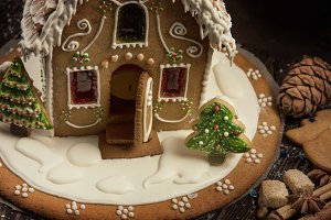 Gingerbread house with lights