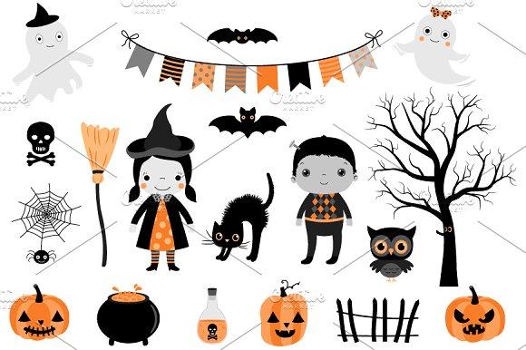 Cute Halloween clip art set ~ Illustrations ~ Creative Market