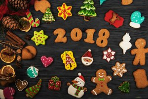Gingerbreads for new 2018 years