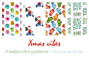Xmas watercolor patterns