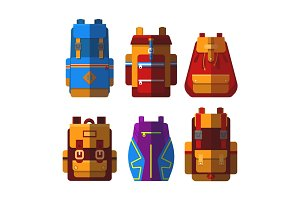 Set of isolated sport or school bag or rucksack