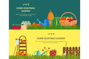 Farm with vegetables and garden items