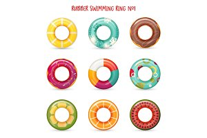 Set of isolated rubber swimming rings