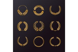 Floral decoration in form of laurel wreath icons