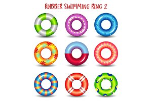 Set of rubber swimming rings with geometric paints