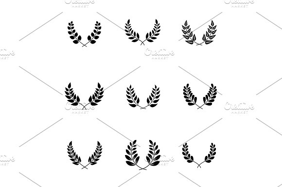 olive branches with leaves for trophy ornate in Illustrations