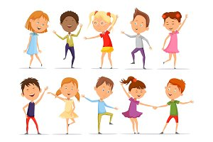Set of isolated little boys and girls dancing