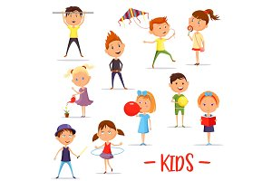 Set of isolated children or kids at their activity