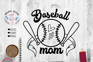 Baseball Mom Cut File and Printable