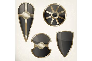 Set of isolated shields icons or heraldic sign