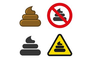 Poo Icon and Sign Set
