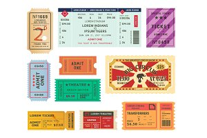 Vintage tickets, paper coupons for circus, cinema