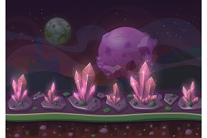Planet landscape or cartoon scenery terrain with crystals or grains and stars or planets in sky