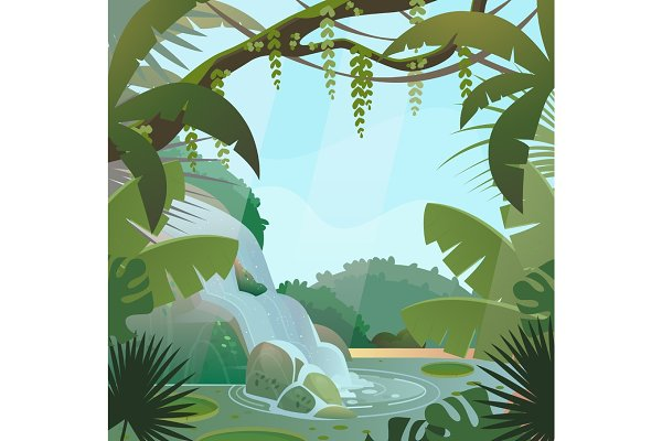 Rainforest in jungle with palms and…
