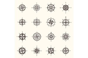 Old compass or ocean, sea navigation wind rose