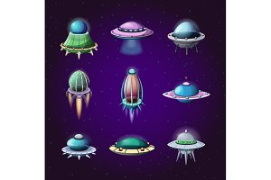 Set of cartoon rockets and alien spaceships