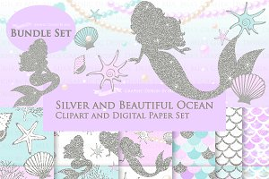 Mermaid Silver Clipart,Pattern