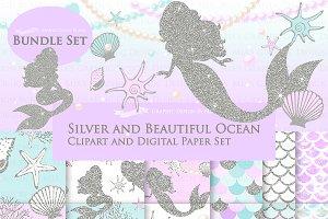 Mermaid Silver Clipart,Pattern